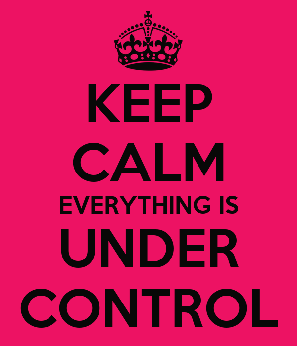 KEEP CALM EVERYTHING IS UNDER CONTROL