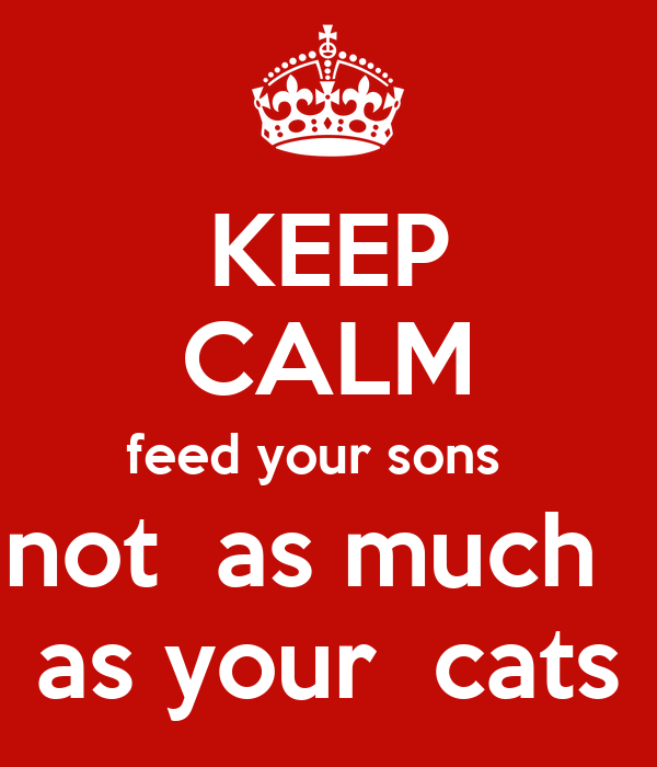 KEEP CALM feed your sons   not  as much    as your  cats