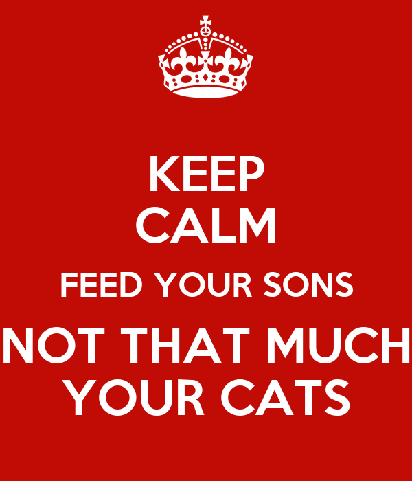 KEEP CALM FEED YOUR SONS NOT THAT MUCH YOUR CATS