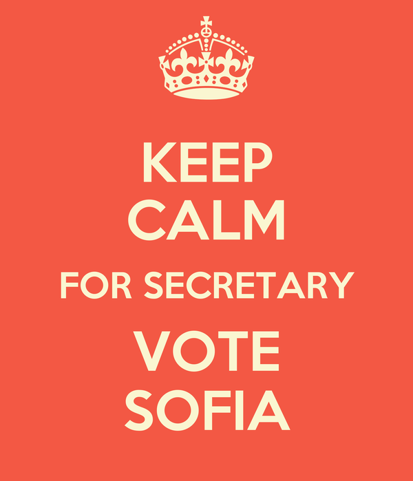 KEEP CALM FOR SECRETARY VOTE SOFIA