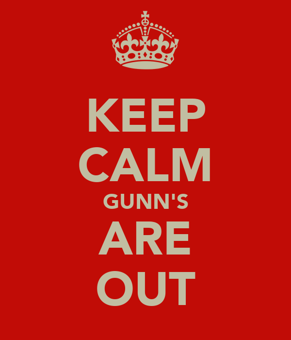 KEEP CALM GUNN'S ARE OUT