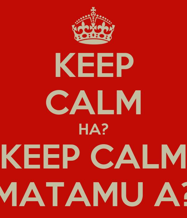 KEEP CALM HA? KEEP CALM MATAMU A?