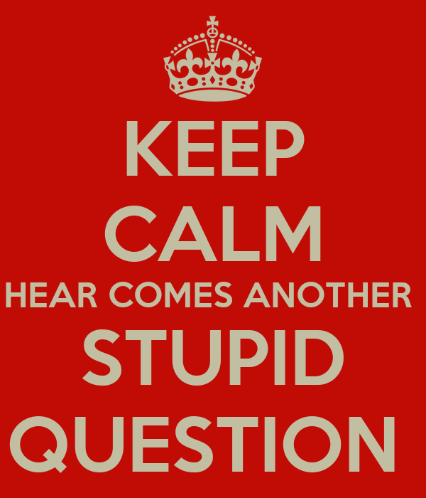 KEEP CALM HEAR COMES ANOTHER  STUPID QUESTION