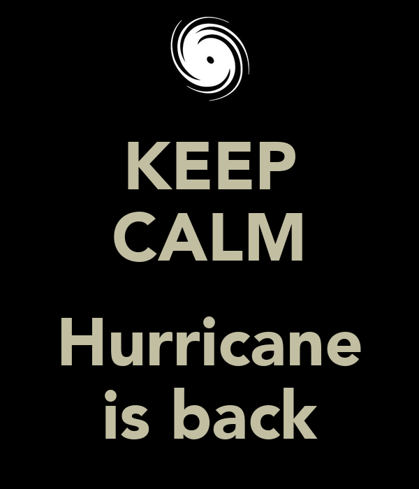 KEEP CALM  Hurricane is back