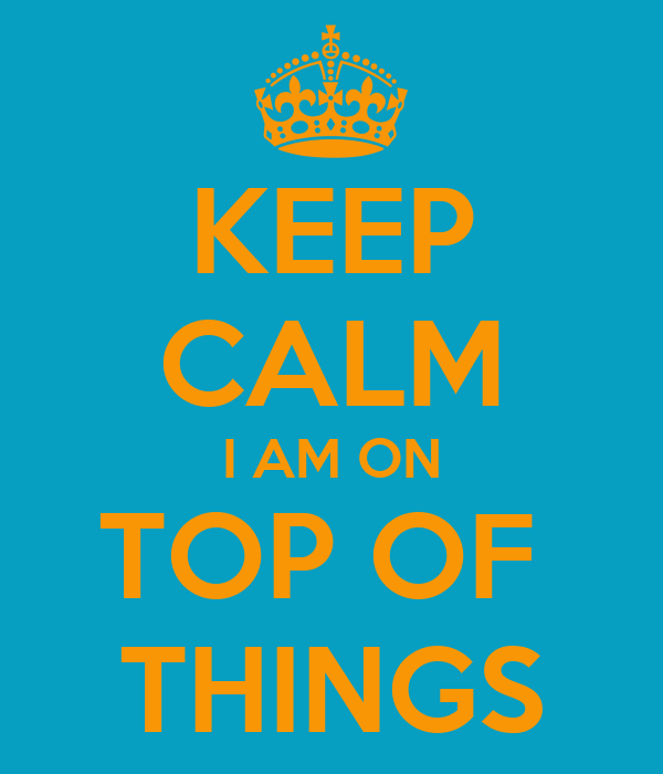 KEEP CALM I AM ON TOP OF  THINGS