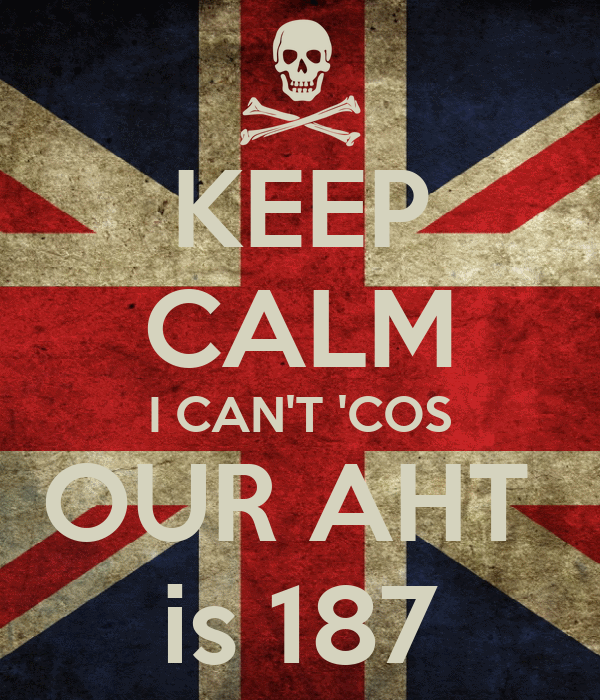 KEEP CALM I CAN'T 'COS OUR AHT  is 187