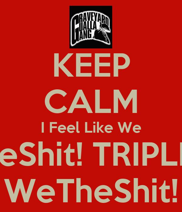 KEEP CALM I Feel Like We TheShit! TRIPLEG WeTheShit!