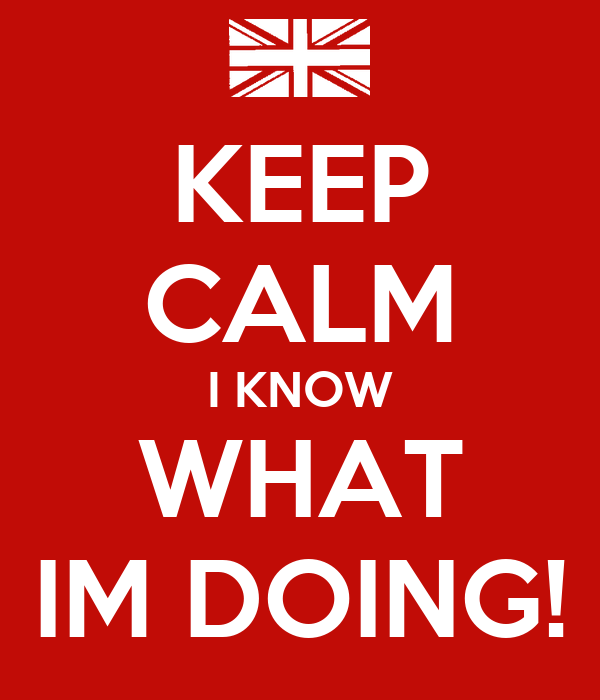 KEEP CALM I KNOW WHAT IM DOING!