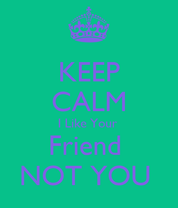 KEEP CALM I Like Your  Friend  NOT YOU