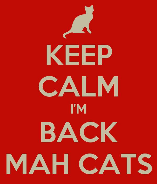 KEEP CALM I'M BACK MAH CATS