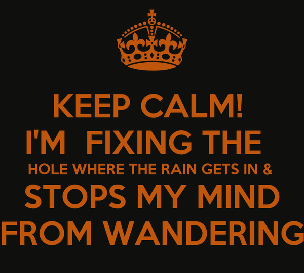 KEEP CALM!  I'M  FIXING THE   HOLE WHERE THE RAIN GETS IN &  STOPS MY MIND FROM WANDERING