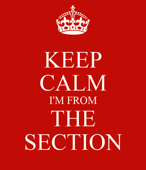 KEEP CALM I'M FROM THE SECTION