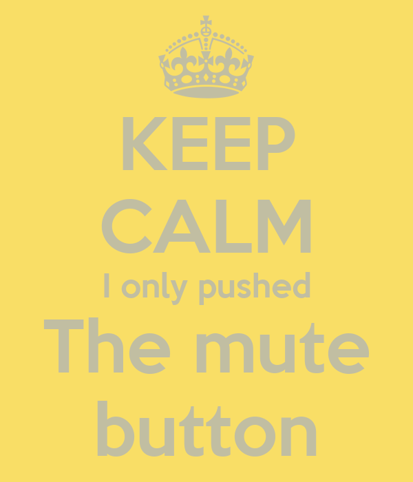 KEEP CALM I only pushed The mute  button