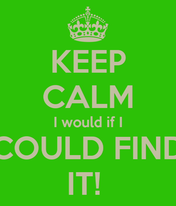 KEEP CALM I would if I COULD FIND IT!