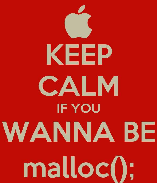 KEEP CALM IF YOU WANNA BE malloc();