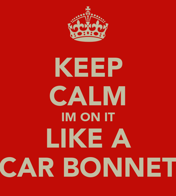 KEEP CALM IM ON IT LIKE A CAR BONNET