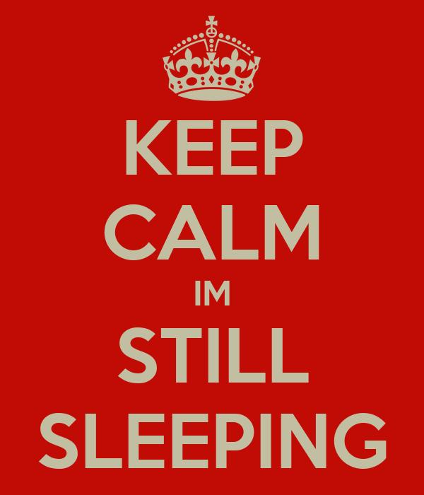 KEEP CALM IM STILL SLEEPING