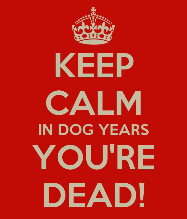 KEEP CALM IN DOG YEARS YOU'RE DEAD!