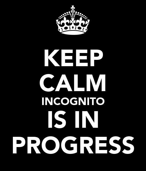 KEEP CALM INCOGNITO IS IN PROGRESS