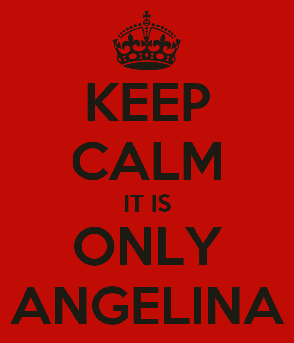KEEP CALM IT IS ONLY ANGELINA