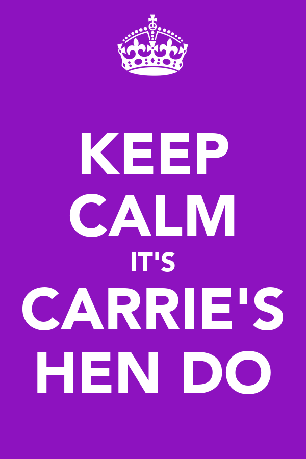 KEEP CALM IT'S CARRIE'S HEN DO