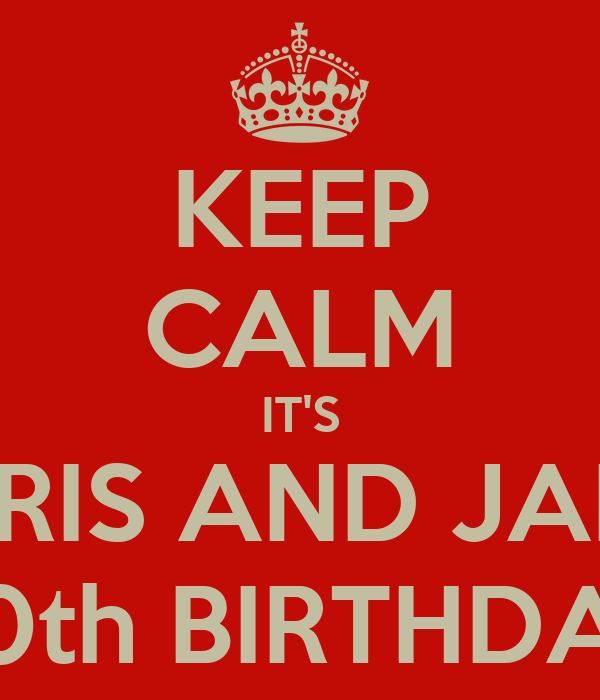 KEEP CALM IT'S CHRIS AND JAM'S 30th BIRTHDAY
