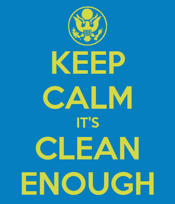 KEEP CALM IT'S CLEAN ENOUGH