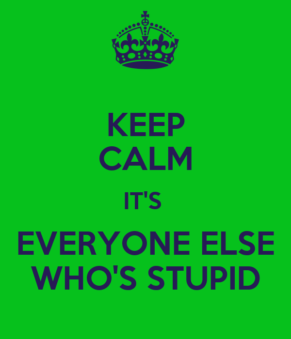 KEEP CALM IT'S  EVERYONE ELSE WHO'S STUPID