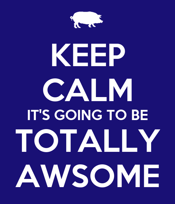 KEEP CALM IT'S GOING TO BE TOTALLY AWSOME