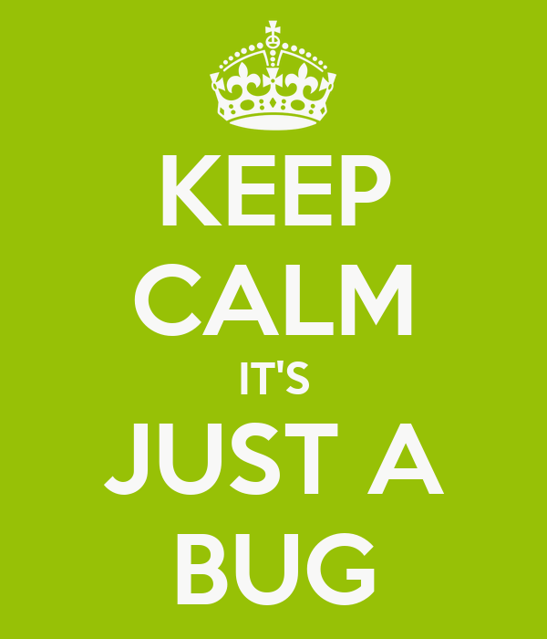 KEEP CALM IT'S JUST A BUG