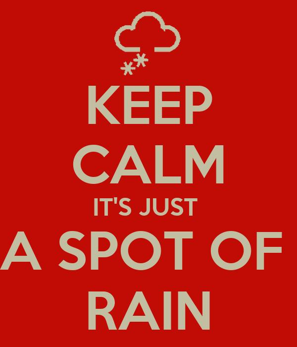 KEEP CALM IT'S JUST  A SPOT OF  RAIN