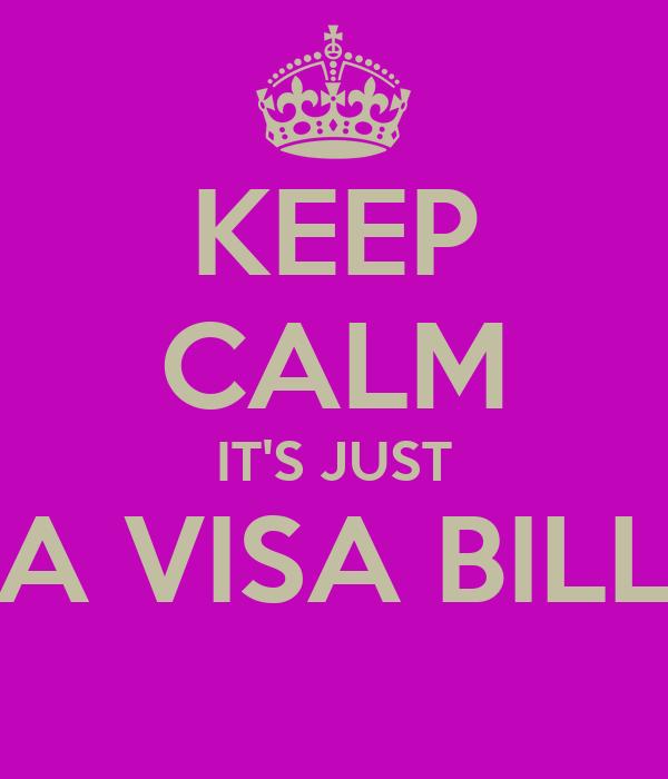 KEEP CALM IT'S JUST A VISA BILL