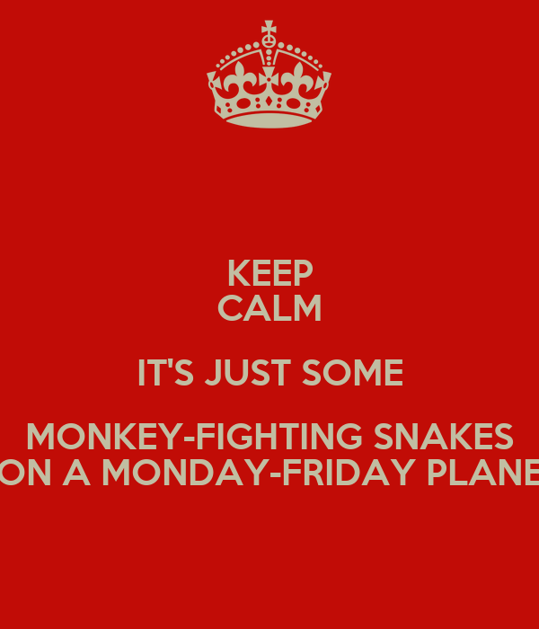 KEEP CALM IT'S JUST SOME MONKEY-FIGHTING SNAKES ON A MONDAY-FRIDAY PLANE