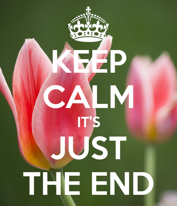 KEEP CALM IT'S JUST THE END
