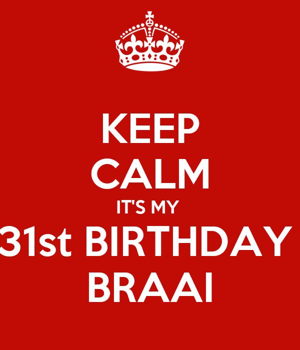 KEEP CALM IT'S MY  31st BIRTHDAY  BRAAI