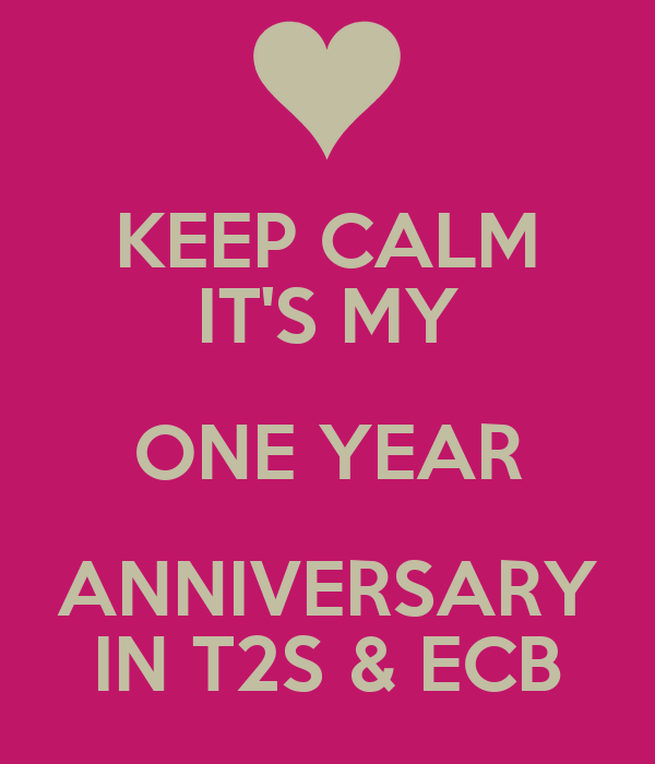 KEEP CALM IT'S MY ONE YEAR ANNIVERSARY IN T2S & ECB