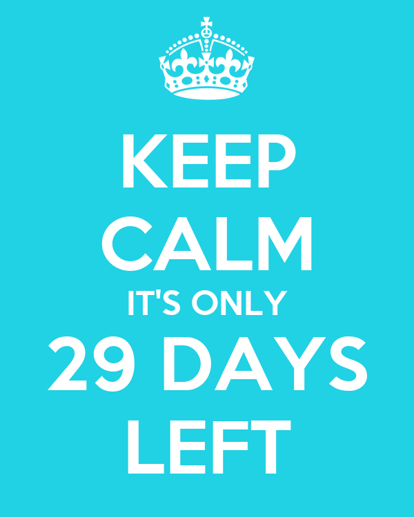 KEEP CALM IT'S ONLY 29 DAYS LEFT