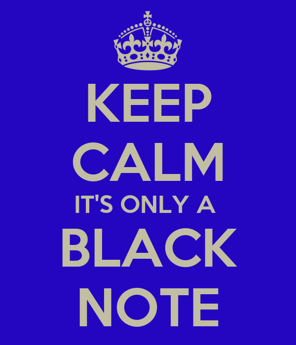 KEEP CALM IT'S ONLY A  BLACK NOTE