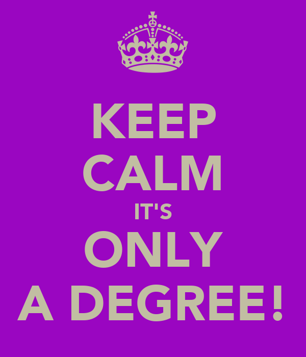 KEEP CALM IT'S ONLY A DEGREE!