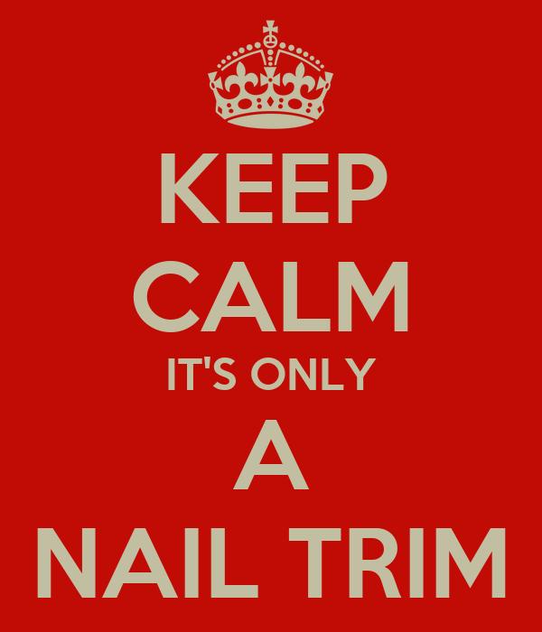KEEP CALM IT'S ONLY A NAIL TRIM