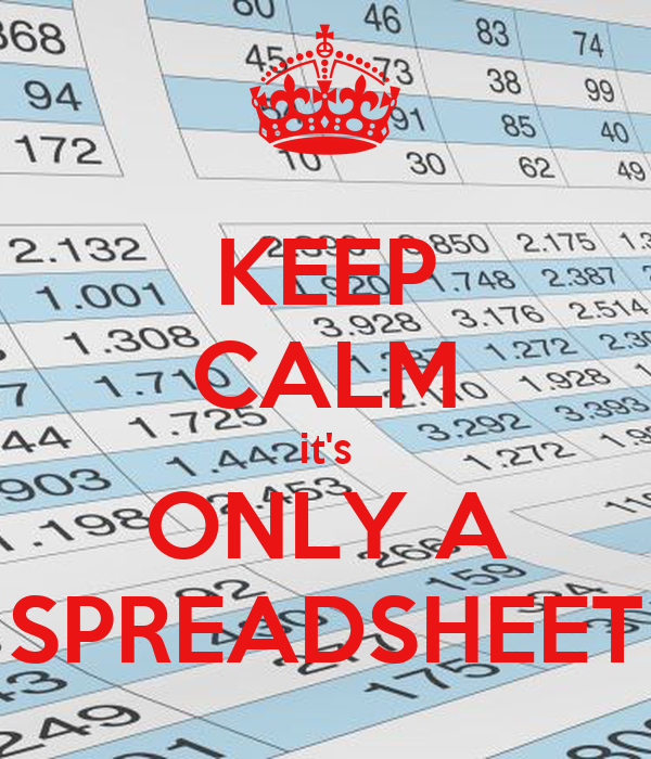 KEEP CALM it's ONLY A SPREADSHEET