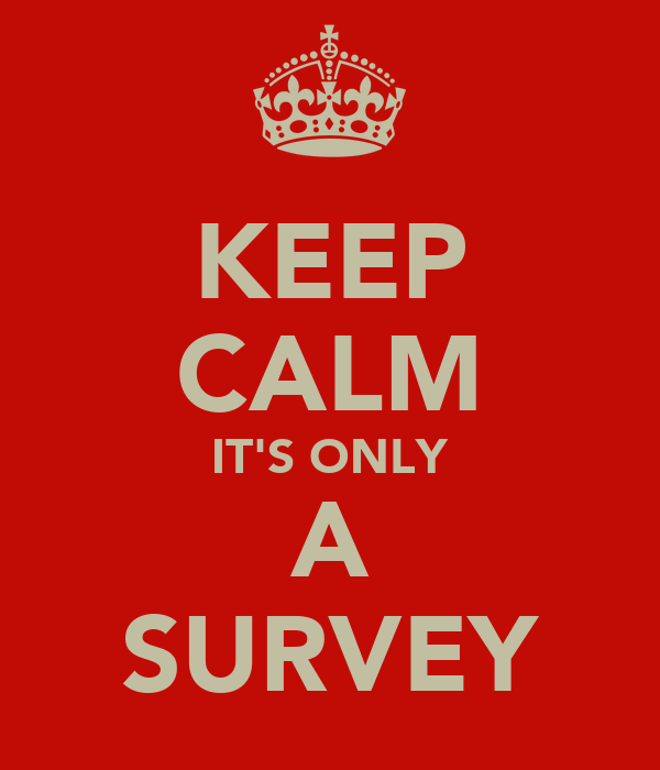 KEEP CALM IT'S ONLY A SURVEY