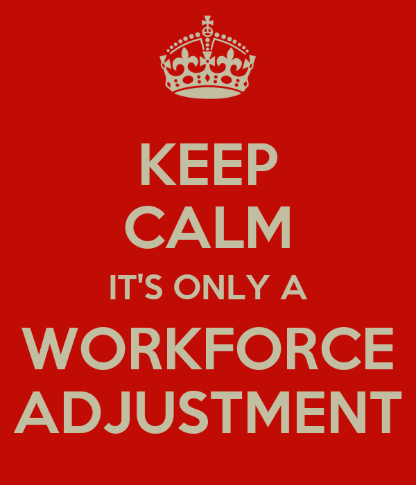 KEEP CALM IT'S ONLY A WORKFORCE ADJUSTMENT