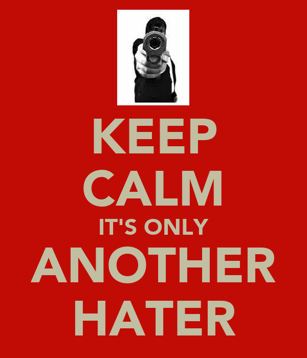 KEEP CALM IT'S ONLY ANOTHER HATER