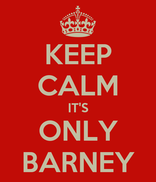 KEEP CALM IT'S ONLY BARNEY