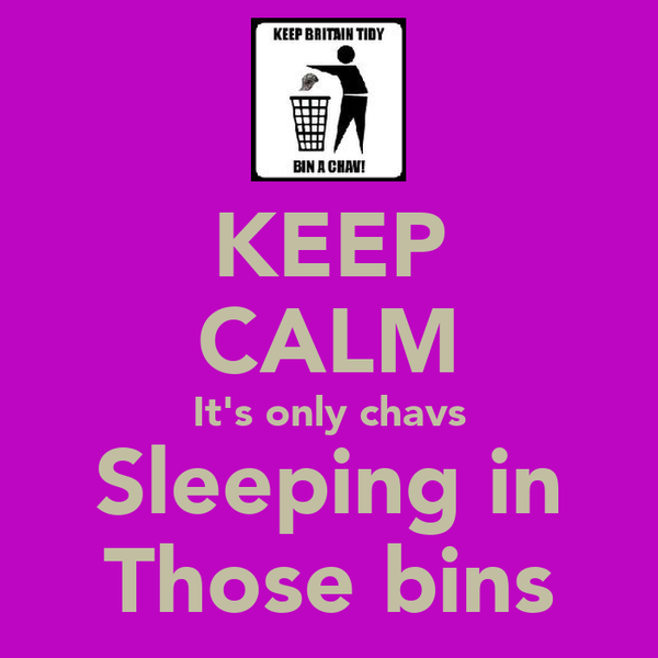 KEEP CALM It's only chavs Sleeping in Those bins