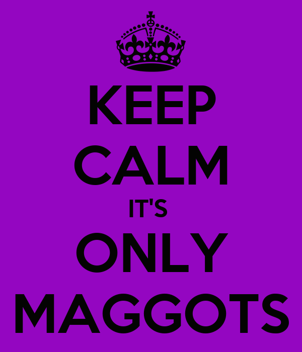 KEEP CALM IT'S  ONLY MAGGOTS