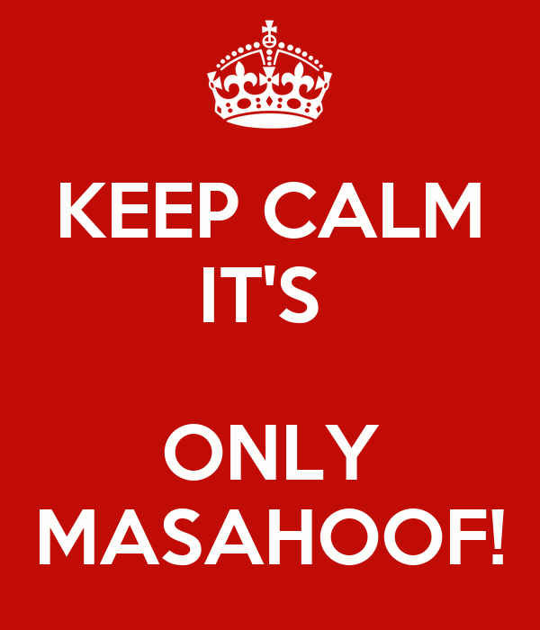 KEEP CALM IT'S   ONLY MASAHOOF!