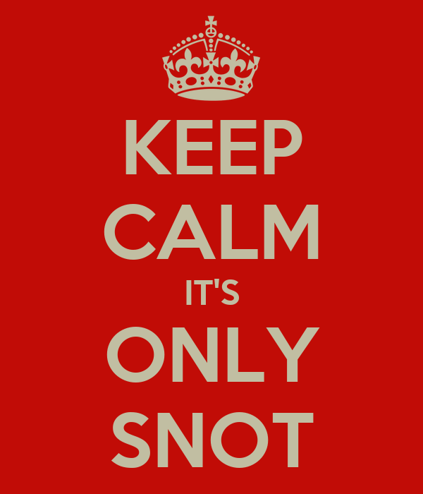 KEEP CALM IT'S ONLY SNOT