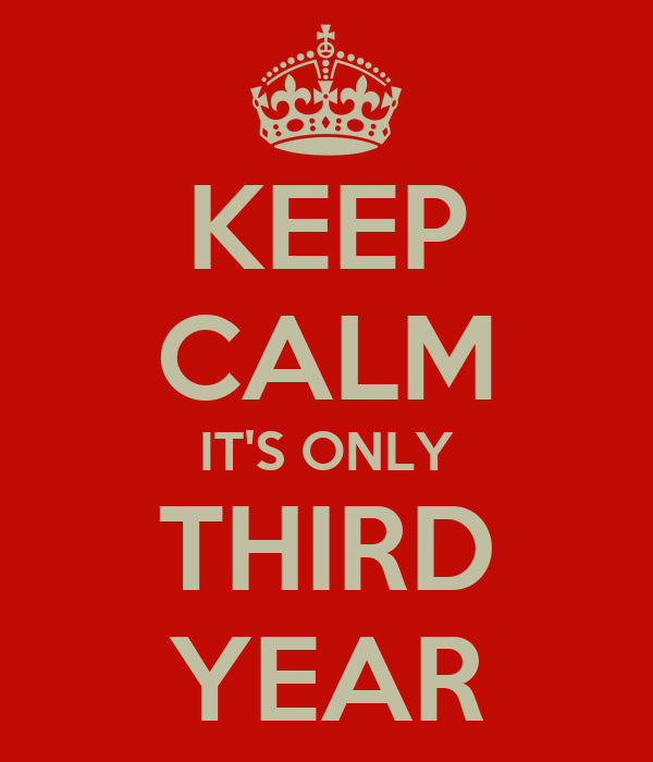 KEEP CALM IT'S ONLY THIRD YEAR